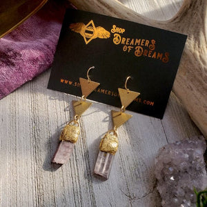 Lepidolite Double Triangle Earrings - Shop Dreamers of Dreams
