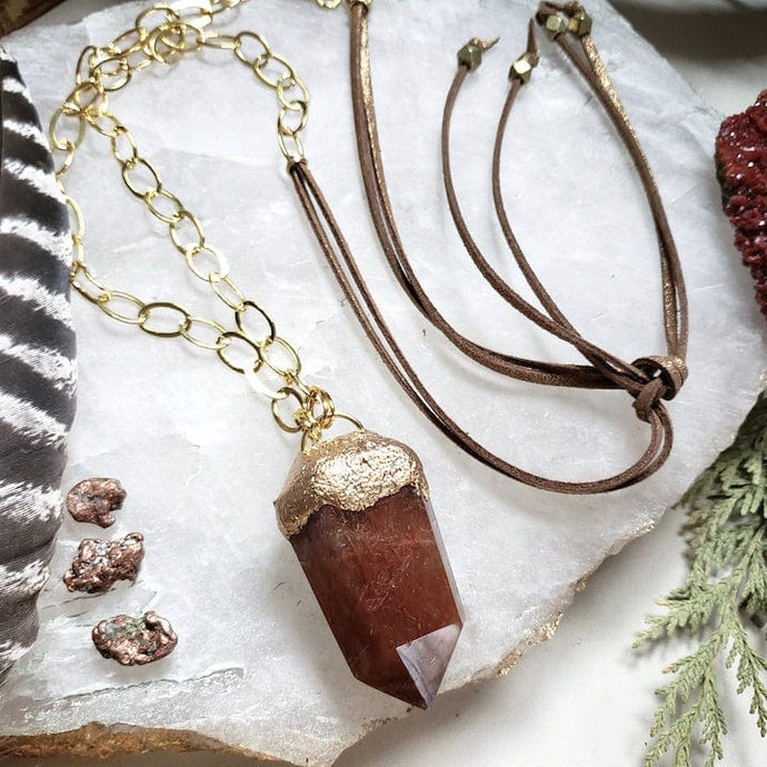 Red Rutilated Quartz Statement Necklace - Shop Dreamers of Dreams