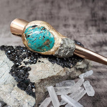 Load image into Gallery viewer, Turquoise and Pyrite Hair Clip - Gold - Shop Dreamers of Dreams