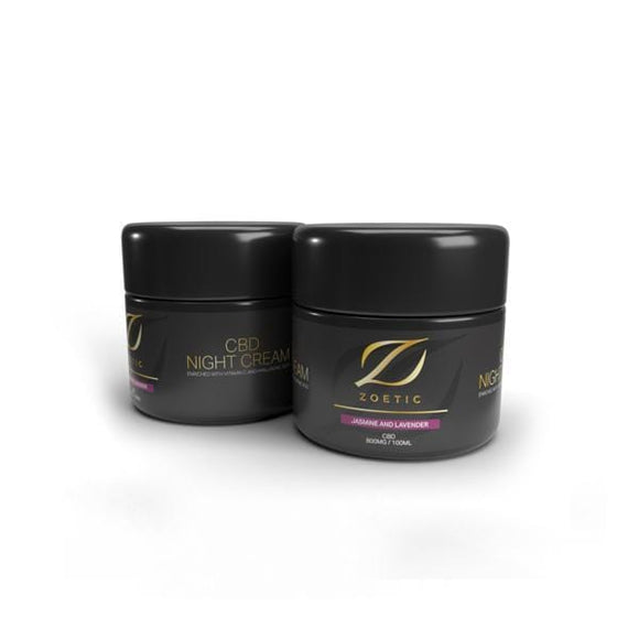 Zoetic 800mg CBD Night Cream 100ml - Jasmine & Lavender