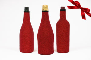 Monteliz red glitter wine cover