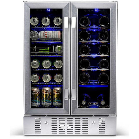 "NewAir 24"" Built-in Dual Zone 18 Bottle and 58 Can Wine and Beverage Fridge (AWB-360DB)"
