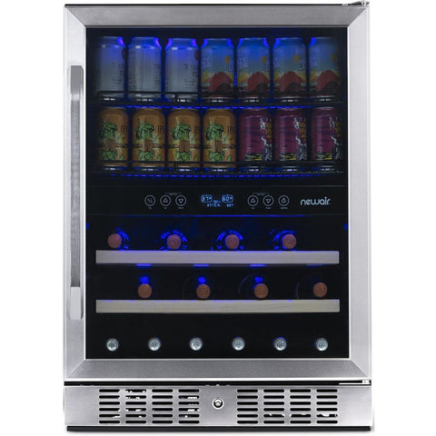 "NewAir 24"" Built-in Dual Zone 20 Bottle and 70 Can Wine and Beverage Fridge (AWB-400DB)"