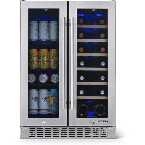 "NewAir 24"" Premium Built-in Dual Zone 18 Bottle and 58 Can French Door Wine and Beverage Fridge (NWB080SS00)"