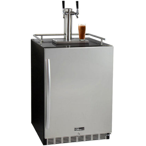 "Kegco 24"" Wide Cold Brew Coffee Dual Tap Black Commercial Built-In Right Hinge Kegerator (ICHK38BSU-2)"