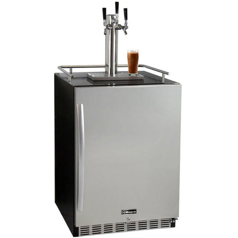 "Kegco 24"" Wide Cold Brew Coffee Triple Tap Stainless Steel Commercial Built-In Right Hinge Kegerator (ICHK38BSU-3)"