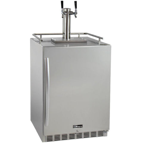 "Kegco 24"" Wide Dual Tap All Stainless Steel Outdoor Built-In Right Hinge Kegerator with Kit (HK38SSU-2)"
