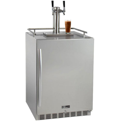 "Kegco 24"" Wide Cold Brew Coffee Dual Tap All Stainless Steel Outdoor Built-In Right Hinge Kegerator (ICHK38SSU-2)"
