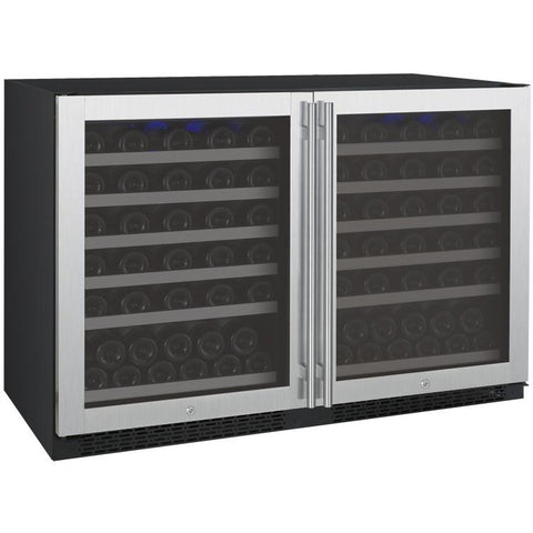 "Allavino 47"" Wide FlexCount II Tru-Vino 112 Bottle Dual-Zone Stainless Steel Side-by-Side Wine Refrigerator (2X-VSWR56-1S20)"