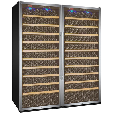 "Allavino 63"" Wide Vite II Tru-Vino 554 Bottle Dual Zone Stainless Steel Side-by-Side Wine Refrigerator (2X-YHWR305-1S20)"