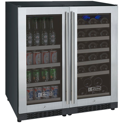 "Allavino 30"" Wide FlexCount II Tru-Vino 30 Bottle/88 Can Dual Zone Stainless Steel Side-by-Side Wine Refrigerator/Beverage Center (3Z-VSWB15-2S20)"