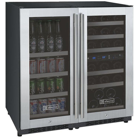 "Allavino 30"" Wide FlexCount II Tru-Vino 30 Bottle/88 Can Dual Zone Stainless Steel Side-by-Side Wine Refrigerator/Beverage Center (3Z-VSWB15-3S20)"