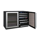 "Allavino 47"" Wide FlexCount II Tru-Vino 56 Bottle/124 Can Stainless Steel Side-by-Side Wine Refrigerator/Beverage Center (3Z-VSWB24-3S20)"
