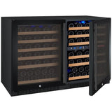 "Allavino 47"" Wide FlexCount II Tru-Vino 112 Bottle Three Zone Black Side-by-Side Wine Refrigerator (3Z-VSWR5656-B20)"