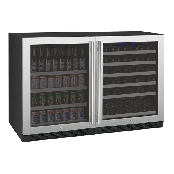 "Allavino 47"" Wide FlexCount II Series 56 Bottle/154 Can Dual Zone Stainless Steel Side-by-Side Wine Refrigerator/Beverage Center (3Z-VSWB24-2S20)"