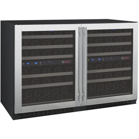 "Allavino 47"" Wide FlexCount II Tru-Vino 112 Bottle Four Zone Stainless Steel Side-by-Side Wine Refrigerator (2X-VSWR56-2S20)"