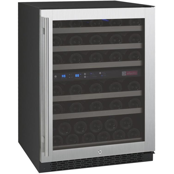 "Allavino 24"" Wide FlexCount II Tru-Vino 56 Bottle Dual Zone Stainless Steel Right Hinge Wine Refrigerator (VSWR56-2SR20)"