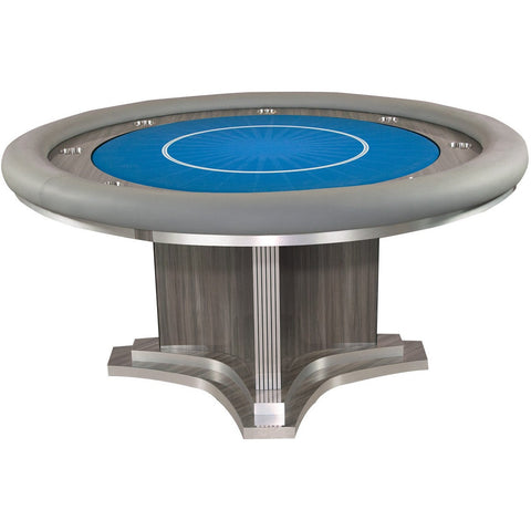 Pharaoh USA Luxor Round Poker Table - Oak Gray & Blue (LUXRP-D-OGB-5)