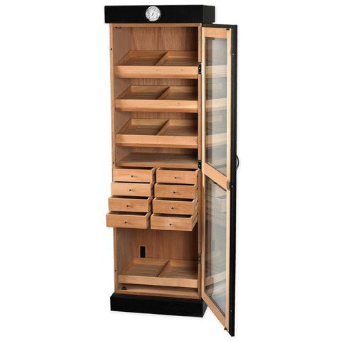Quality Importers 3000 Ct. Black Humidor Cigar Tower Drawer Unit (HUM-2000BLK)