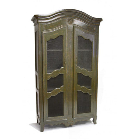 Zentique Christopher Olive Green China Cabinet (LIVIMA-S8-12-18 Green)