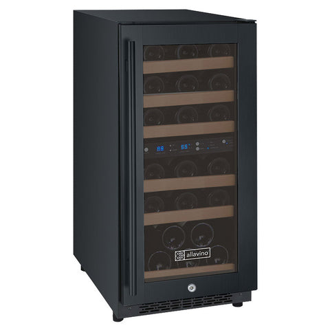 "Allavino 15"" Wide FlexCount II Tru-Vino 30 Bottle Dual Zone Black Wine Refrigerator (VSWR30-2BR20)"