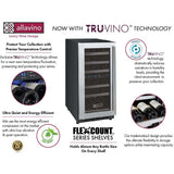 "Allavino 15"" Wide FlexCount Series 30 Bottle Dual Zone Stainless Steel Left Hinge Wine Refrigerator (VSWR30-2SL20)"