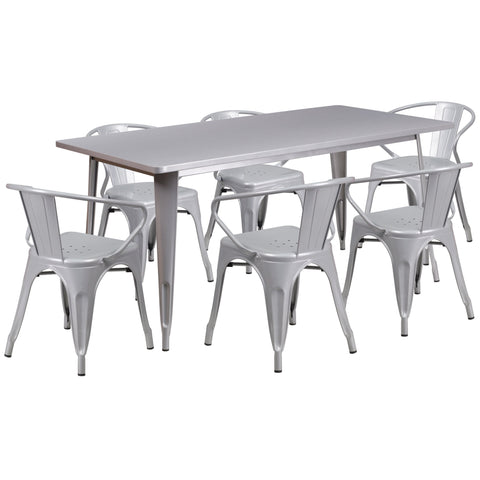 "Commercial Grade 31.5"" x 63"" Rectangular Silver Metal Indoor-Outdoor Table Set with 6 Stack Chairs (ET-CT005-6-70-SIL-GG)"