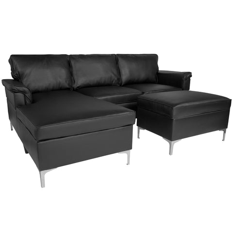 Boylston Upholstered Plush Pillow Back Sectional with Left Side Facing Chaise and Ottoman Set in Black LeatherSoft (BT-S8375-SFCHSEOT-BK-GG)