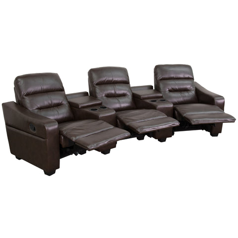 LeatherSoft Brown 3-Seat Reclining Home Theatre Sectional Sofa (BT-70380-3-BRN-GG)