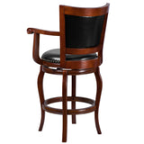 LeatherSoft 30'' High Cherry Wood Barstool Seat - Pack of Four (x4) (TA-21259-CHY-GG)