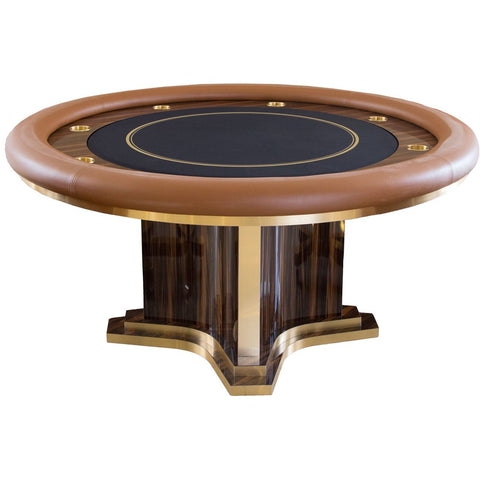 Pharaoh USA Luxor Round Poker Table - Terra Silkwood Brown & Blue (LUXRP-D-TSBB-5)