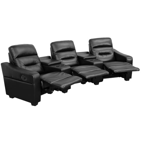 Futura Series 3-Seat Reclining Black Leather Theater Seating (BT-70380-3-BK-GG)