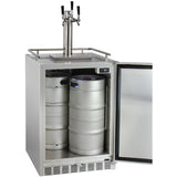 "Kegco 24"" Wide Triple Tap All Stainless Steel Outdoor Built-In Right Hinge Kegerator with Kit (HK38SSU-3)"