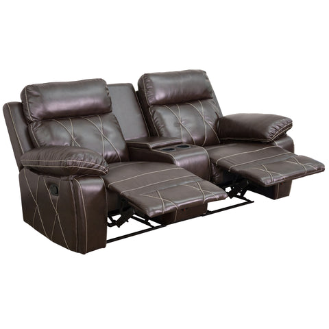 Reel Comfort Series 2-Seat Reclining Brown Leather Theater Seating (BT-70530-2-BRN-GG)