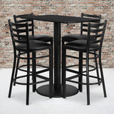 24'' x 42'' Rectangular Black Laminate Table Set with 4 Ladder Metal Barstools (RSRB1017-GG)
