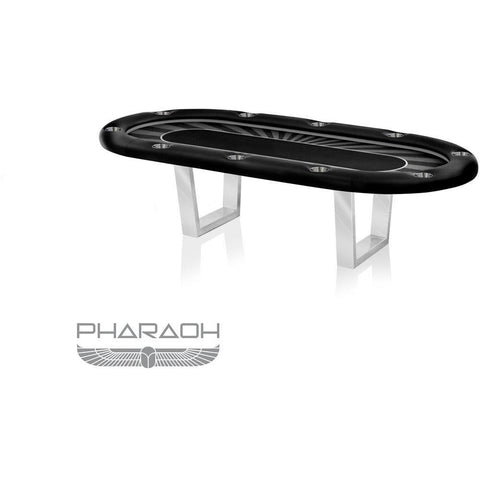 Pharaoh USA Galaxy Texas Hold'Em Poker Table - Black & Chrome SIlver (GALHP-D-BS)