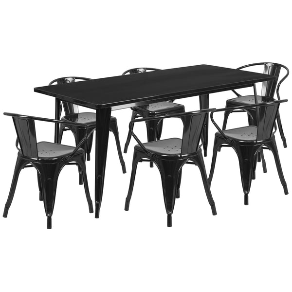 "Commercial Grade 31.5"" x 63"" Rectangular Black Metal Indoor-Outdoor Table Set with 6 Stack Chairs (ET-CT005-6-70-BK-GG)"