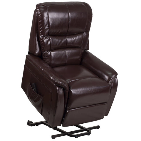 HERCULES Series Brown LeatherSoft Remote Powered Lift Recliner (CH-US-153062L-BRN-LEA-GG)