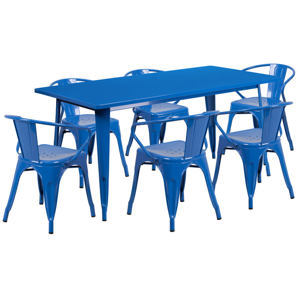 "Commercial Grade 31.5"" x 63"" Rectangular Blue Metal Indoor-Outdoor Table Set with 6 Stack Chairs (ET-CT005-6-70-BL-GG)"