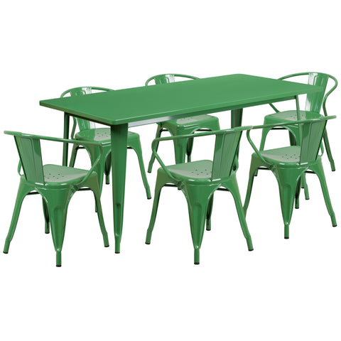 "Commercial Grade 31.5"" x 63"" Rectangular Green Metal Indoor-Outdoor Table Set with 6 Stack Chairs (ET-CT005-6-70-GN-GG)"