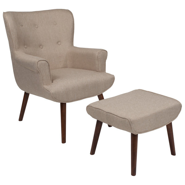 Bayton Series Beige Wingback Chair with Ottoman (QY-B39-CO-B-GG)