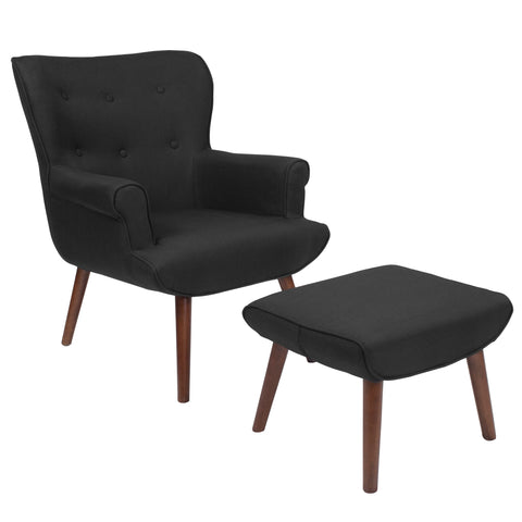 Bayton Series Black Wingback Chair with Ottoman (QY-B39-CO-BK-GG)