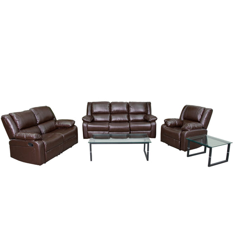 Harmony Series Brown Leather Reclining Sofa Theater Set (BT-70597-RLS-SET-BN-GG)
