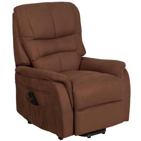 HERCULES Series Brown Microfiber Remote Powered Lift Recliner (CH-US-153062L-BRN-MIC-GG)