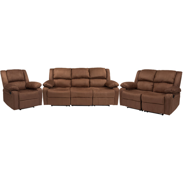 Harmony Series Chocolate Brown Leather Reclining Sofa Theater Set (BT-70597-RLS-SET-BN-MIC-GG)