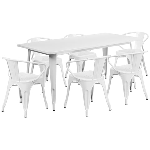 "Commercial Grade 31.5"" x 63"" Rectangular White Metal Indoor-Outdoor Table Set with 6 Stack Chairs (ET-CT005-6-70-WH-GG)"