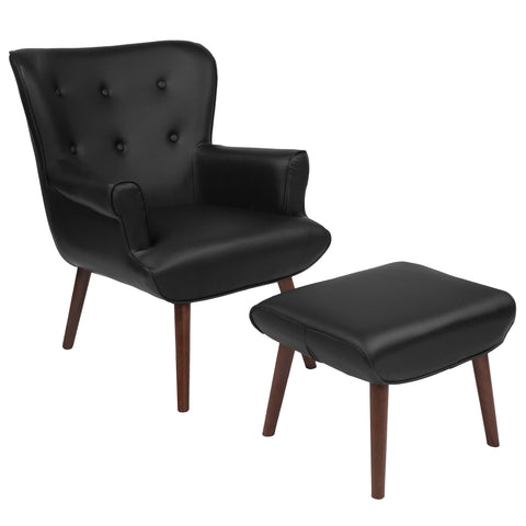 Bayton Series Black Leather Wingback Chair with Ottoman (QY-B39-CO-BKL-GG)