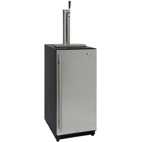 "Kegco 15"" Wide Single Tap Stainless Steel Built-In Right Hinge Kegerator (VSK-15SR20)"