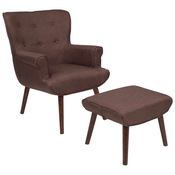 Bayton Series Brown Wingback Chair with Ottoman (QY-B39-CO-BRN-GG)