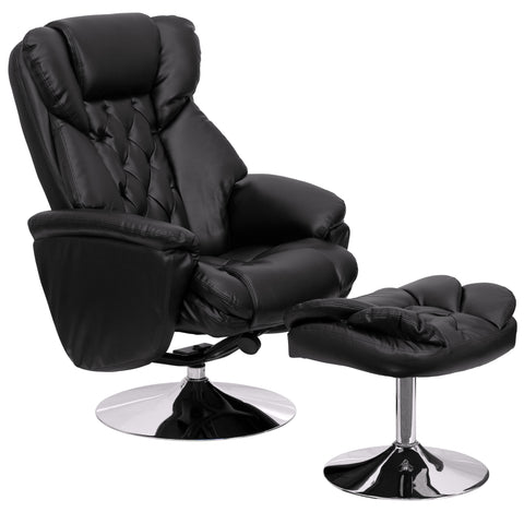 LeatherSoft Transitional Multi-Position Recliner and Ottoman with Chrome Base in Black (BT-7807-TRAD-GG)